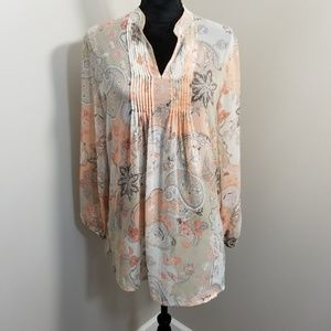 Susan Graver Sheer Paisley Floral Popover Tunic M